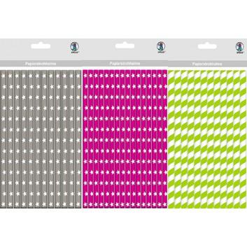Ursus Papierstrohhalme - viele Motive !; verschiedene Motive; verschiedene Farben; 200 mm; 80 mm = M; Papier; lebensmittelecht, wasserfest