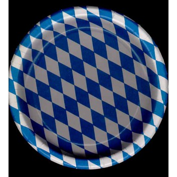 Hosti-Pfiffkuss Pappteller, rund; 23 cm; Bayrisch-Raute, weiß-blau; Hartpapier, PE-beschichtet; Rund; ideal für feuchte Speisen (Steak,Salate)