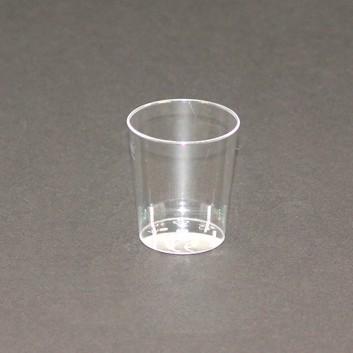 Schnapsglas / Probierbecher; 2 cl; transparent; PS = Polystyrol; bei 20 ml; Durchmesser: 37 mm / Höhe: 42 mm; ideal für Schnaps, Saucen und Proben