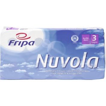 fripa Toilettenpapier, Nuvola; 3-lagig; hochweiß; 250 Blatt; 100 % Recycling; Blauer Engel