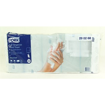 TORK Papierhandtuch 2-lagig weiß - Kleinpack; 2-lagig; V-Falz / Typ H3; 25 x 23 cm (B x L); Advanced; weiß, weich