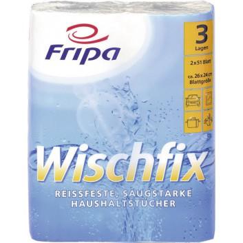 fripa Küchenrolle  -Wischfix-; 3-lagig; hochweiß; 51 Tücher; 100 %  Zelltuch; Blattformat: 26 x 24 cm
