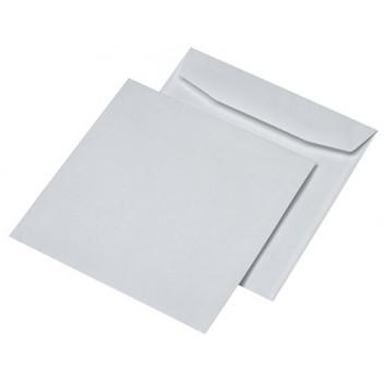 Versandtaschen; 220 x 220 mm (Quadrat); weiß; ohne Fenster; nassklebend; gerade Klappe; 100 g/qm; mit Innendruck; 30005526