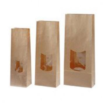 Sichtblockbeutel; verschiedene Formate; uni, unbedruckt - enggerippt; braun, matt; 100 g / 250 g; Natron und PP; 2-lagig, Klotzboden, Sichtfenster