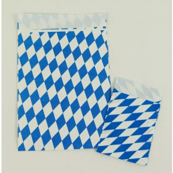 Präsent-Flachbeutel aus Papier; ca. 7 x 9 cm / 13 x 18 cm; Bayerisch Raute; weiß-blau; ca. 20 mm; Offset, glatt; ca. 90 g/qm; mit Klappe