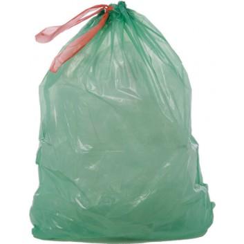 Müllsack mit Zugband; 60 Liter; grün; LDPE; 65 x 75 cm; Breite x Höhe; Rolle a 20 Säcke