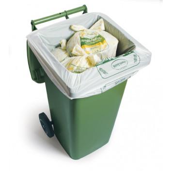 Maisstärke-Müllsack; 120 Liter; grün; Maisstärke /bioMat; 86 x 120 cm; Breite x Höhe; Rolle a 10 Säcke; kompostierbar gemäß EN13432