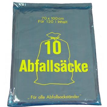 Müllsack, HDPE (raschlig) - Kleinpack; 120 Liter; grau; HDPE; 70 x 100 cm; Breite x Höhe; 10 Säcke gelegt im Polybeutel