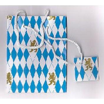 Präsent-Tragetasche mit Kordel; 11,5 x 14,5 x 6,5 cm; Bayerischer Löwe; weiß-blau-gold; mit weißer Kunststoffkordel; Lackpapier