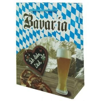 Präsent-Tragetasche mit Kordel; 18 + 8 x 23 cm; Bavaria; bunt; mit blauer Kordel; Lackpapier; Breite + Bodenfalte x Höhe