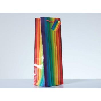 1er Exclusiv-Flaschentragetasche; 12 + 10 x 35 cm; 1 Flasche; Regenbogen; bunt; mit Kordel und Anhänger; Papier, glänzend; 157 g/qm