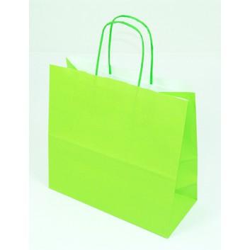 Papier-Tragetaschen,mit gedrehter Kordel; 25 + 11 x 24 cm; uni; limette; gedrehte Papierkordel in Taschenfarbe; Kraftpapier glatt weiß