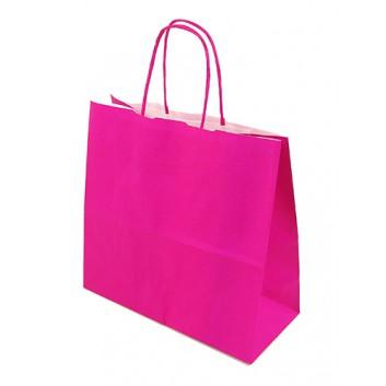 Papier-Tragetaschen,mit gedrehter Kordel; 25 + 11 x 24 cm; uni; pink; gedrehte Papierkordel in Taschenfarbe; Kraftpapier glatt weiß; ca. 100 g/qm