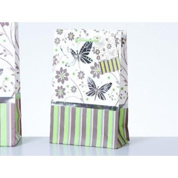 Exklusiv-Tragetasche; 12 + 6 x 19 cm; Schmetterlinge; grün-braun-weiß; mit Kordel und Anhänger; Papier, glänzend; 128 g/qm; Breite + Falte x Höhe