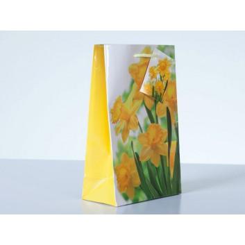Exklusiv-Tragetasche; 12 + 6 x 19 cm; Fotomotiv: Osterglocken/Narzissen; gelb; mit Kordel und Anhänger; Papier, glänzend; 128 g/qm