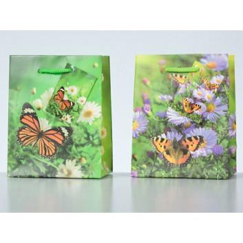Präsent-Tragetasche, mit Kordel; 11 + 6 x 13,5 cm; Schmetterlinge, 2-fach sortiert; bunt; mit Kordel; Lackpapier; 128 g/qm
