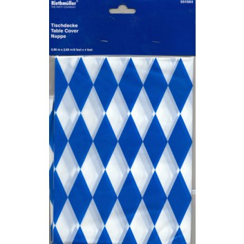 Riethmüller Tischtuch, Plastik; 80 cm x 2,6 m; bayerisch Raute; weiß-blau; Plastik, / wasserfest & abwischbar