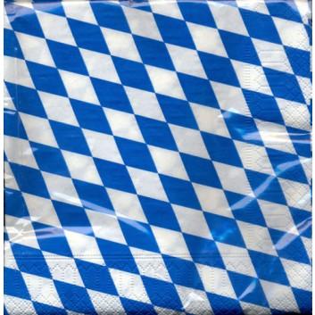 amscan Servietten; 33 x 33 cm; Bayerisch Raute; weiß-blau; 631836; 3-lagig; 1/4-Falz (quadratisch); Zelltuch