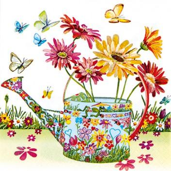 HomeFashion Servietten; 33 x 33 cm; Flowery Can; bunt auf weiß; 211555; 3-lagig; 1/4 Falz (quadratisch); Zelltuch