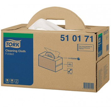 TORK Reinigungsvlies, Handybox; 38,5 x 43,0 cm (B x L); 1-lagig; weiß; 300 Tücher; Hohe Saugkraft.