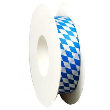 GoldiDecor Geschenkband; 25 mm x 25 m; bayerisch Raute; weiß-blau; Polyester, Schnittband; ohne Draht