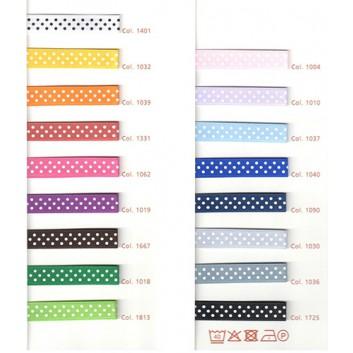 SWS Geschenkband; 16 mm x 25 m; Mini Dots = weiße Pünktchen; viele Farben; 29017-1004; Satinband; ohne Draht; 100 % Polyester