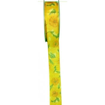 SWS Geschenkband; 25 mm x 20 m; Narzissen; orange-gelb-grün; 22194-1001; mit Draht; 100 % Polyester