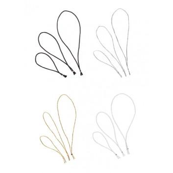 GoldiDecor Elastik-Schlinge; 15 cm; ohne Schleife; weiß/silber/gold/schwarz; Elastik-Rundkordel mit Metallklammer; ideal für Anhänger und Etiketten