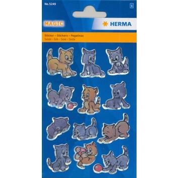 HERMA Schmucketiketten; Trägerblatt (B x H): 84 x 120 mm; Katzen; Seide; permanent haftend; Magic; 12 Sticker; 5249
