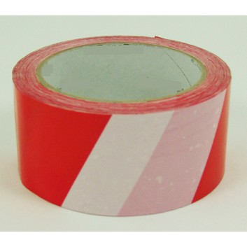 Warnrolle; ohne Text; 50 mm x 66 m; weiß-rot gestreift; PVC, selbstklebend