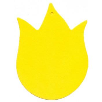 Anhängekarten; ca. 55 x 41 mm; gelb; mit Aufhängeloch/-stanzung; ohne Faden; ca. 50 x 41 mm; Karton; Tulpe, klein; A101231-003