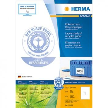 HERMA Universal-Etiketten Recycling SPECIAL; 210,0 x 297,0 mm; naturweiß; Papier; permanent; ohne Rand; für Inkjet-, Laserdrucker und Kopierer