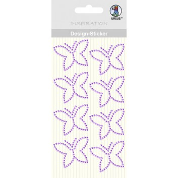 Ursus Kreativ-Accessoires; Design-Sticker Schmetterling; flieder; ca. 40 x 30 mm; 7507 00 06; 8 Stück