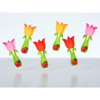 Kreativ-Accessoires - Aufkleber; Tulpen aus Filz mit Marienkäfer aus Holz; farbig sortiert; ca. 8 x 24 mm; 55161; 6 Stück