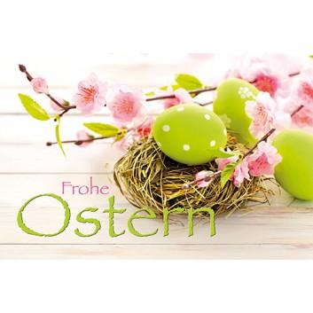Skorpion Glückwunschkarte; 115 x 175 mm; Ostern; Fotomotiv: Osternest mit Eiern & Blüten; Ku: hellgrün, naßklebend, Spitzklappe
