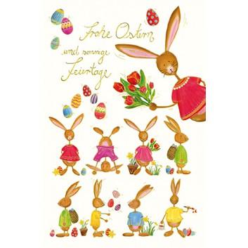 Skorpion Glückwunschkarte; 115 x 175 mm; Ostern; Art-Serie: Osterhasen; Ku: weiß, naßklebend, Spitzklappe; Hochformat; Goldfolie und Blindprägung