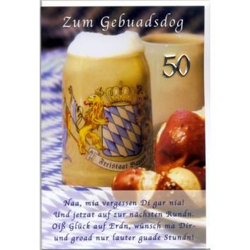 Sü Glückwunschkarte; 115 x 175 mm; Zum 50. Geburtstag; Fotomotiv: Bierkrug, Brezen, weiß-blau; Ku: weiß, naßklebend, Spitzklappe; Hochformat; B24