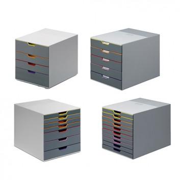 DURABLE Schubladenbox VARICOLOR; grau; 280 x 356 x 292 mm (B x T x H); mit geschlossenen Schubfächern; inkl. Beschriftungsschilder; Kunststoff