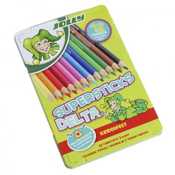 JOLLY Buntstifte Superstick kinderfest DELTA; verschiedene Farben; 12er Metalletui