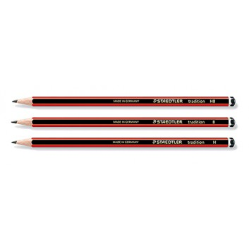 STAEDTLER Tradition Bleistift; B-H; schwarz-rot; Sechskantschaft; ohne Radierer