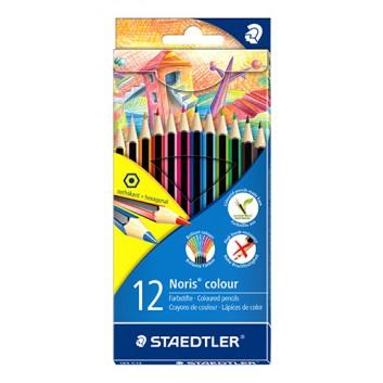 STAEDTLER Buntstifte Noris colour; verschiedene Farben; 12er Etui; sechskant