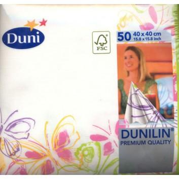 Duni Servietten; 40 x 40 cm; Butterfly; bunt; Dunilin- mit Textil-Charakter; 1/4-Falz (quadratisch); Vlies