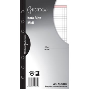 Chronoplan Blatt, kariert; weiß; Midi; 80 g/qm Papier