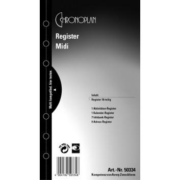Chronoplan Register 18-teilig; Kunststoff-Folie; Midi