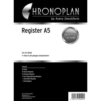 Chronoplan Register 31-teilig; Kunststoff-Folie; A5