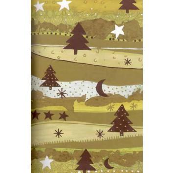 Weihnachts-Geschenkpapier, Bogen; 70 x 100 cm; Tanne; gold-braun