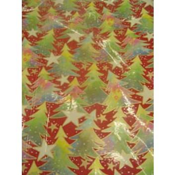 Weihnachts-Geschenkpapier, Bogen; 70 x 100 cm; Tannen; bordeaux-grün