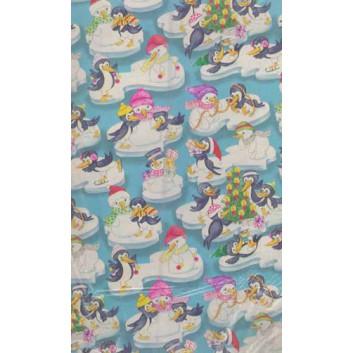 Weihnachts-Geschenkpapier, Bogen; 70 x 100 cm; Kindermotiv: Schneemänner mit Pinguin; hellblau