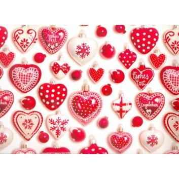 Weihnachts-Geschenkpapier, Bogen; 70 x 100 cm; Weihnachtskugel-Herzen; rot-weiß; 3A5538