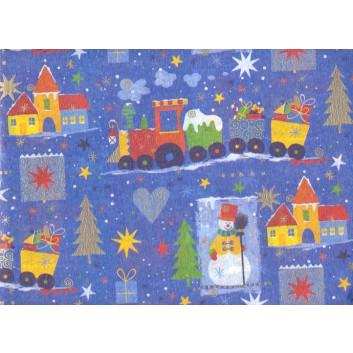 Weihnachts-Seidenpapier; 50 x 70 cm; Weihnachtszug und Schneemänner; blau; Seidenpapier, geprägt, 25g/qm
